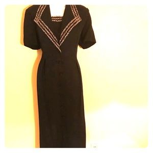 S.L Fashions Black and Leopard Maxi Dress size 12